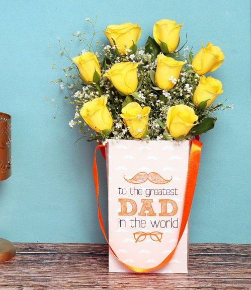 Tempting Yellow Roses For Dad - online fathers day flowers store Pakistan