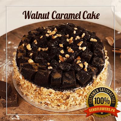 Walnut Caramel Cake - Online Cakes Delivery - Sendflowers.pk