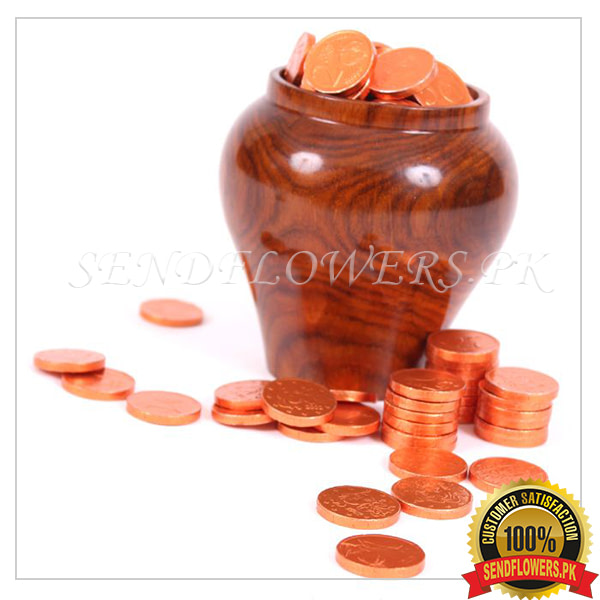 Gold Coins with Wooden Pot - SendFlowers.pk