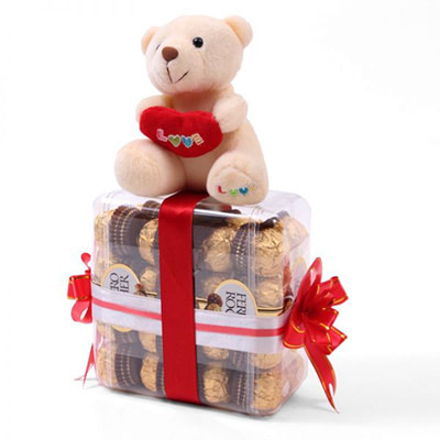 Ferrero Chocolates and Cute Teddy Bear - SendFlowers.pk
