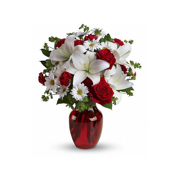 Red and White Roses SendFlowers To Pakistan