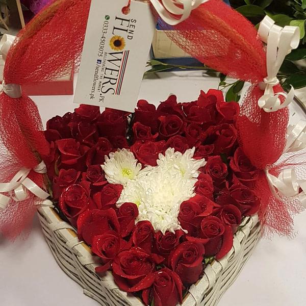 Heart Rose Basket - Online Love Flowers Delivery Pakistan