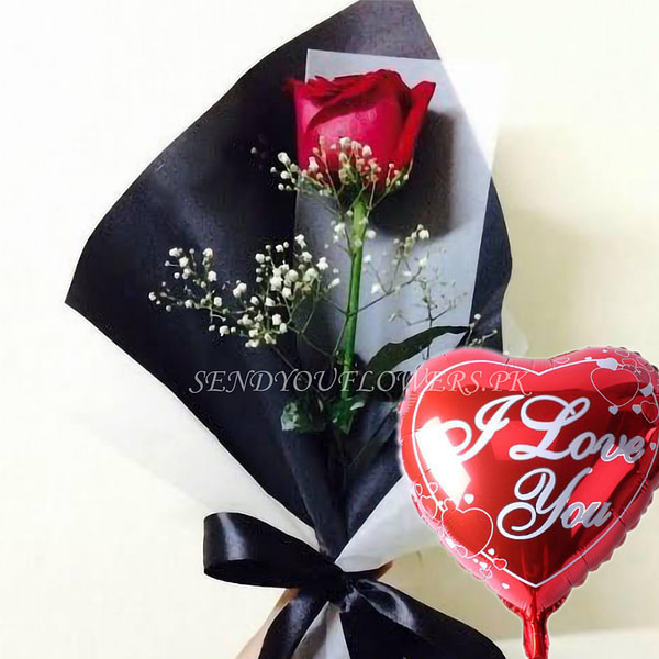 SINGLE ROSE with love balloo - Sendflowers.pk